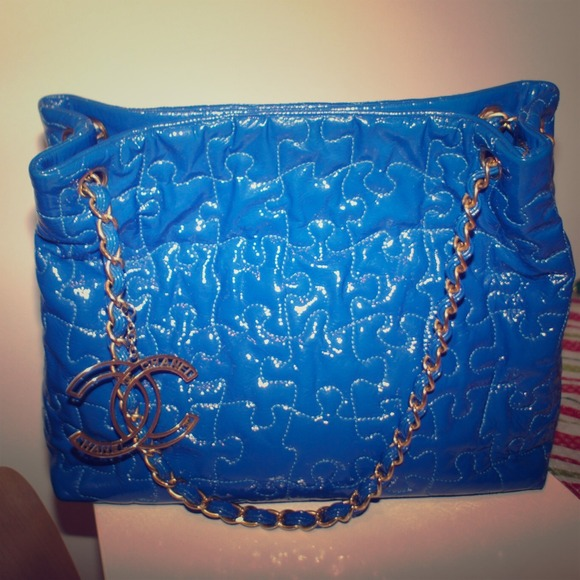 CHANEL Bags   Electric Blue Patent Leather Puzzle Tote   Poshmark 3df1ddfa85