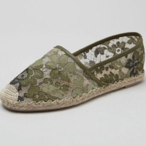 Valentino Green Lace Espadrille Flat 40/10 NWT box