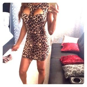 Cheetah print cut out dress