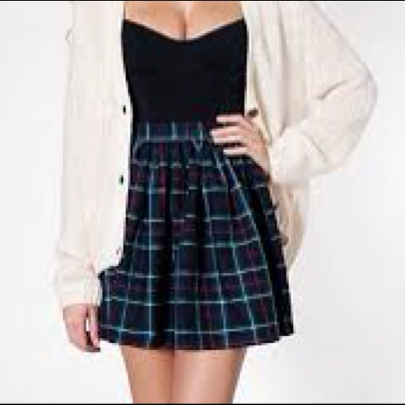 cfc29fa5594e American Apparel Dresses   Skirts - American Apparel Plaid Green Skater  Skirt