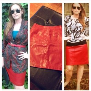 Amanda Smith Dresses & Skirts - ❤ 🎉Host Pick 🎉 Rich Red Leather Pencil Skirt