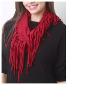 Accessories - Ruby Red Jersey Fringe Infinity Scarf