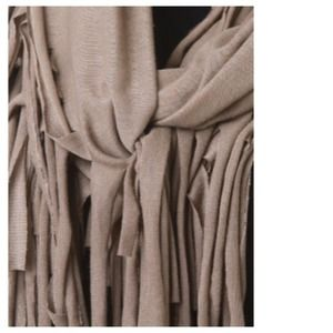 Accessories - Taupe Jersey Fringe Infinity Scarf