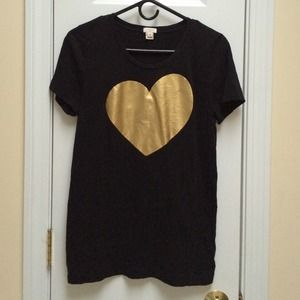 J. Crew Tops - Jcrew Gold Heart Tee