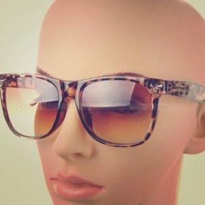 Leopard Brown Vintage Retro Sunglasses with Spikes