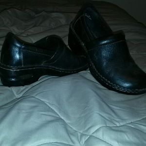 Dark brown leather clogs