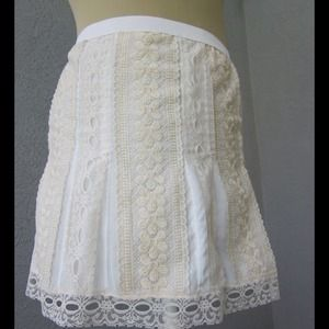 Dresses & Skirts - Champagne and white lace miniskirt
