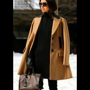 Nanette Lepore camel color coat w/ leather trim