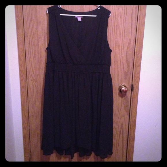 H&M Dresses   Hm Plussize Chiffon Black Dress   Poshmark