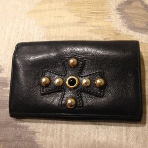 100% Authentic YSL Black Leather Wallet w: Gold