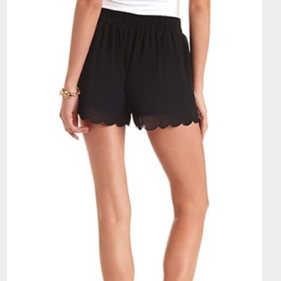 New scalloped black chiffon high waisted shorts M from Dianna's ...