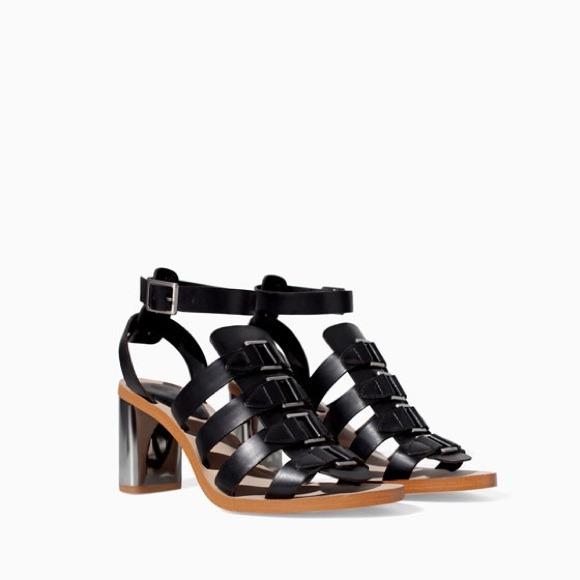 Zara sandals strappy black size 9 or40euro, new