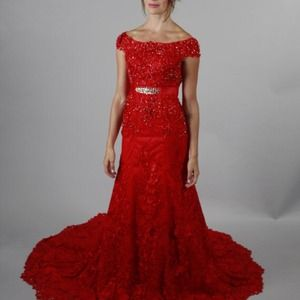 Sexy Red 3D Lace wedding dress mermaid style