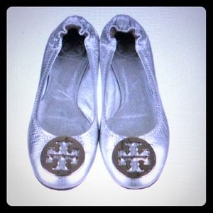 Metallic Silver leather Tory Burch classic Reva's