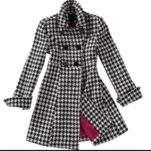 75% off Express Outerwear - Wool Houndstooth Black White Long ...