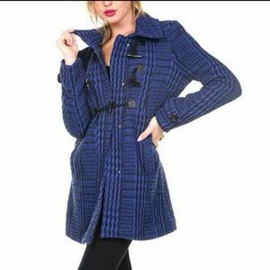 Ambiance Apparel Outerwear - NEW stylish BLUE PLAID Lightweight coat jacket SM