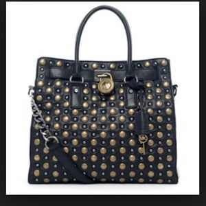 Michael By Michael Kors Hamilton Black Studded Tote Shoulder Bag 8