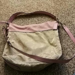 Pink and beige Coach handbag