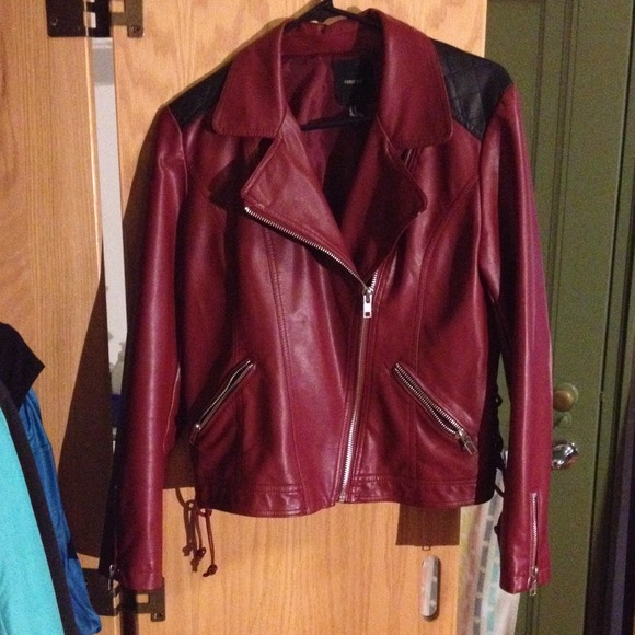 Red Leather Jacket Forever 21 Dark Red Faux Leather Jacket