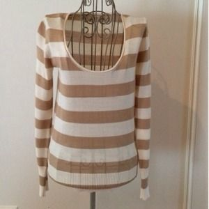 Tan and White Striped Sweater