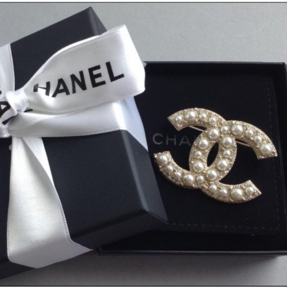 CHANEL Jewelry Gold Cc Pearl Pin Brooch New In Box Poshmark