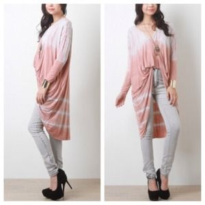 Tops - Peach White Tie Dye Maxi Hi-Lo Top