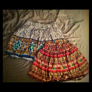 Two F21 Tribal Print Skirts