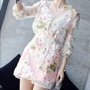 Tops - Sheer Floral Cardigan