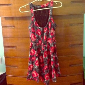 Lace back zip front flowered rose dress