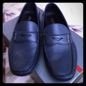 prada blue loafers
