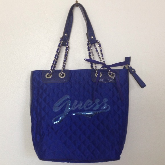 Guess Handbags - GUESS BLUE QUILTED SEQUIN BLUE BAG 600cb0e01b9fe