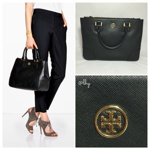TORY BURCH ROBINSON DOUBLE ZIP TOTE - BLACK