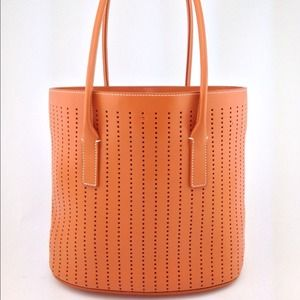 Prada - PRADA Orange Leather Vitello Fori 1 Tote Bag from ... - Prada tote orange
