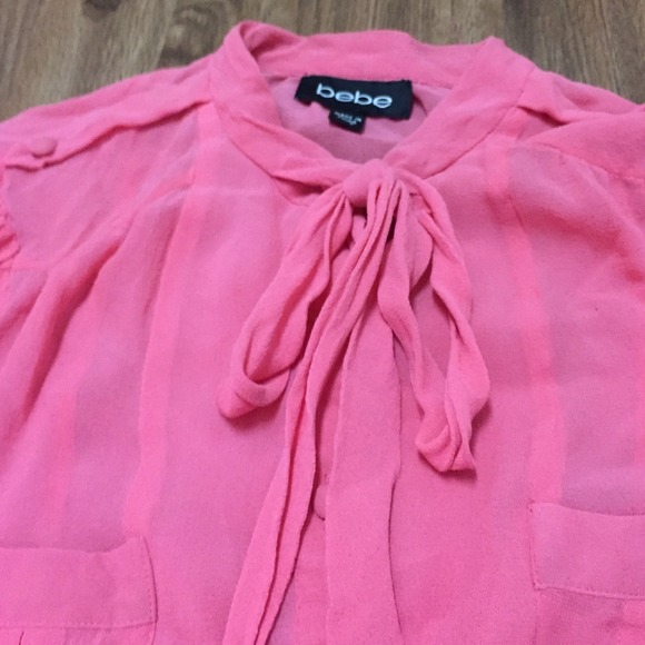 78 bebe tops bebe pink button bow tie shirt from ms