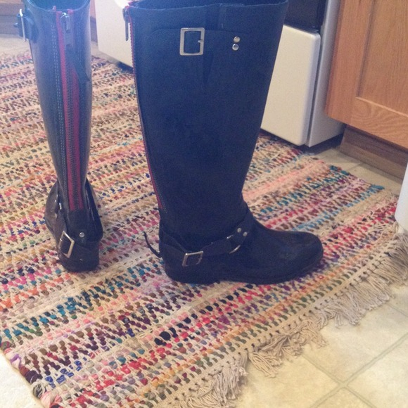 65% off Steve Madden Shoes - Steve Madden tall black rain boots w ...