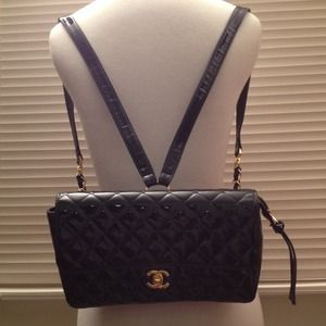Authentic Chanel Black Patent Leather Backpack