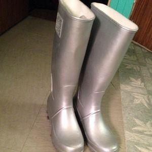 Metallic Silver Ralph Lauren Rain Boots