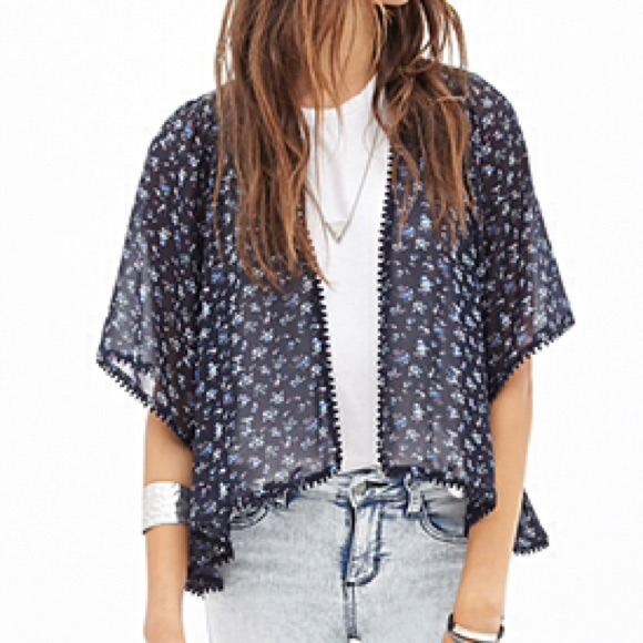 😻Navy Blue w/ Floral print Kimono/Cardigan S from Q's closet on ...