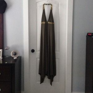 BCBG olive green with gold beads dress. Size Lg.