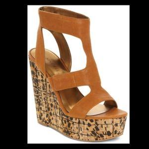 Nine West Tan Wedge Heels w/Leopard Corkscrew Heel