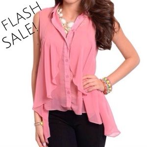 ⚡️️FLASH SALE! TODAY ONLY Rose Chiffon Ruffle Top