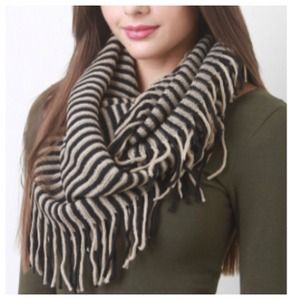 Accessories - Taupe + Black Striped Fringe Scarf