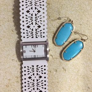 Accessories - Laser cut white leather watch
