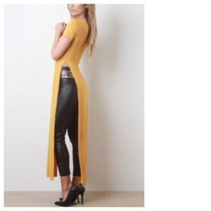 40% OFF Mustard Side Slit Maxi Top