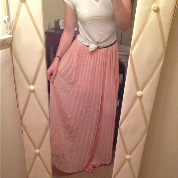 50% off Dresses & Skirts - Light Pink Pleated Maxi Skirt from ...