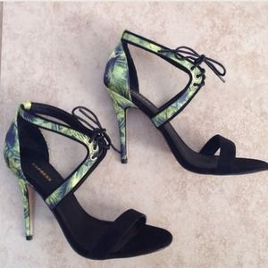 Green & Black Leaf Strappy Heels