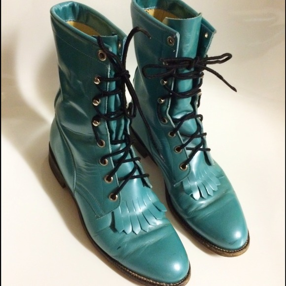 Justin - JUSTIN Vintage Fringe Teal Lace Up Ankle Boots from ...