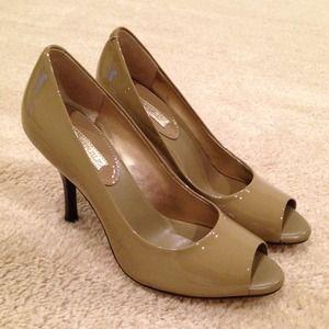Banana Republic Lynn peep-toe olive patent shoes.