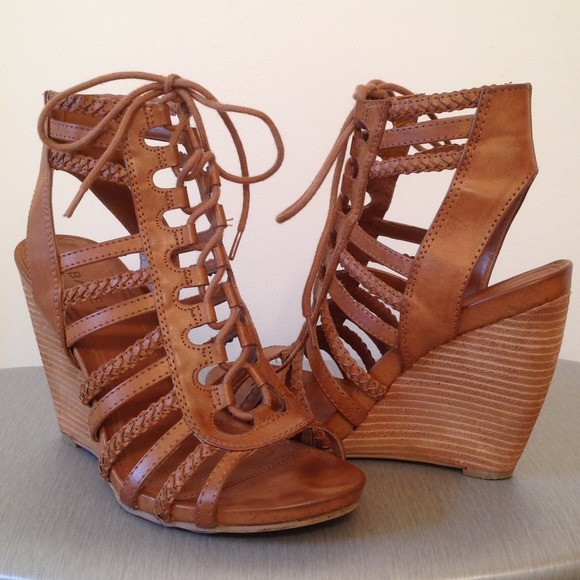 Bakers Shoes   Tie Up Tan Wedge Sandals