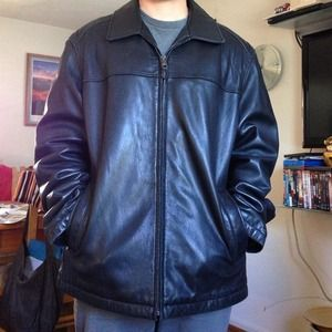 Black leather men's jacket